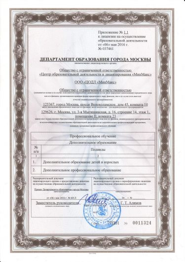 Приложение к лицензии на осуществление образовательной деятельности УЦ МинМакс